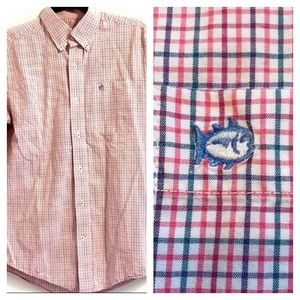 SOUTHERN TIDE  Red/Blue Plaid Logo Button Down